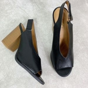 Qupid Black Slingback Peep Toe Stacked Block Heels